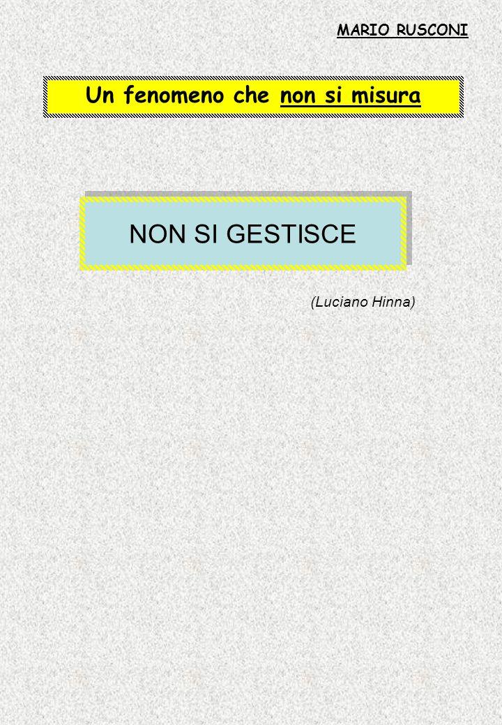 Un fenomeno che non si misura NON SI GESTISCE (Luciano Hinna) MARIO RUSCONI