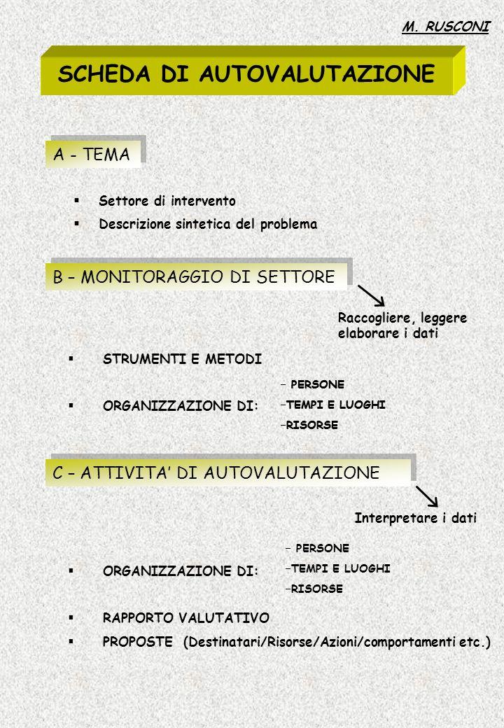 SCHEDA DI AUTOVALUTAZIONE A - TEMA Settore di intervento Descrizione sintetica del problema B – MONITORAGGIO DI SETTORE Raccogliere, leggere elaborare