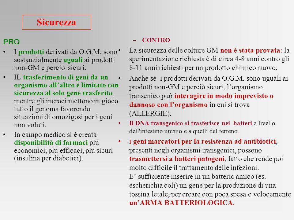 Sicurezza PRO I prodotti derivati da O.G.M. sono sostanzialmente uguali ai prodotti non-GM e perciò 'sicuri. IL trasferimento di geni da un organismo