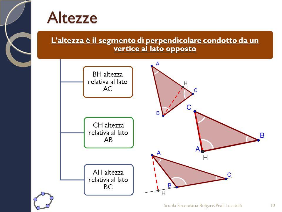Altezze Laltezza è il segmento di perpendicolare condotto da un vertice al lato opposto BH altezza relativa al lato AC CH altezza relativa al lato AB