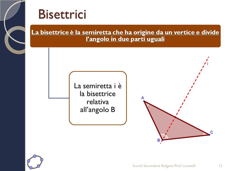 Bisettrici La bisettrice è la semiretta che ha origine da un vertice e divide langolo in due parti uguali La semiretta i è la bisettrice relativa alla