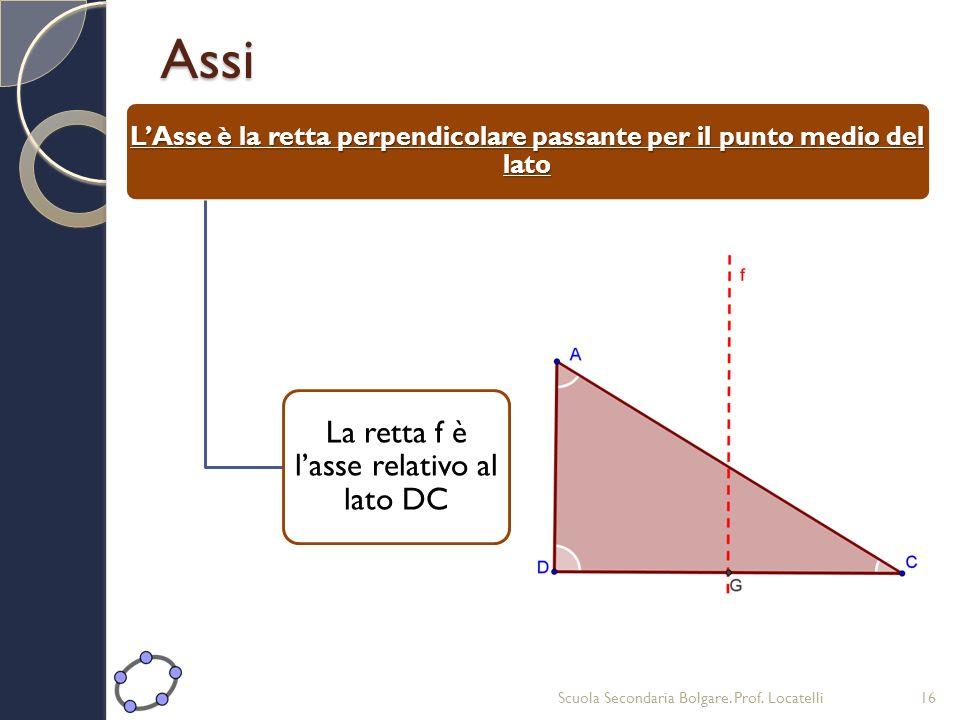 Assi LAsse è la retta perpendicolare passante per il punto medio del lato La retta f è lasse relativo al lato DC Scuola Secondaria Bolgare. Prof. Loca