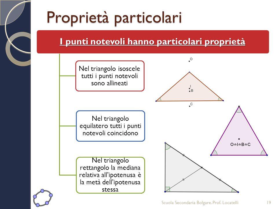 Proprietà particolari I punti notevoli hanno particolari proprietà Nel triangolo isoscele tutti i punti notevoli sono allineati Nel triangolo equilate