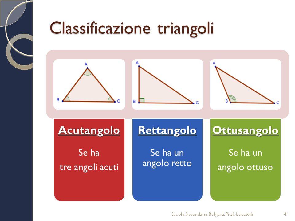 Classificazione triangoli Acutangolo Se ha tre angoli acutiRettangolo Se ha un angolo rettoOttusangolo Se ha un angolo ottuso Scuola Secondaria Bolgar