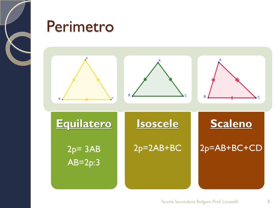 PerimetroEquilatero 2p= 3AB AB=2p:3Isoscele 2p=2AB+BCScaleno 2p=AB+BC+CD Scuola Secondaria Bolgare. Prof. Locatelli8