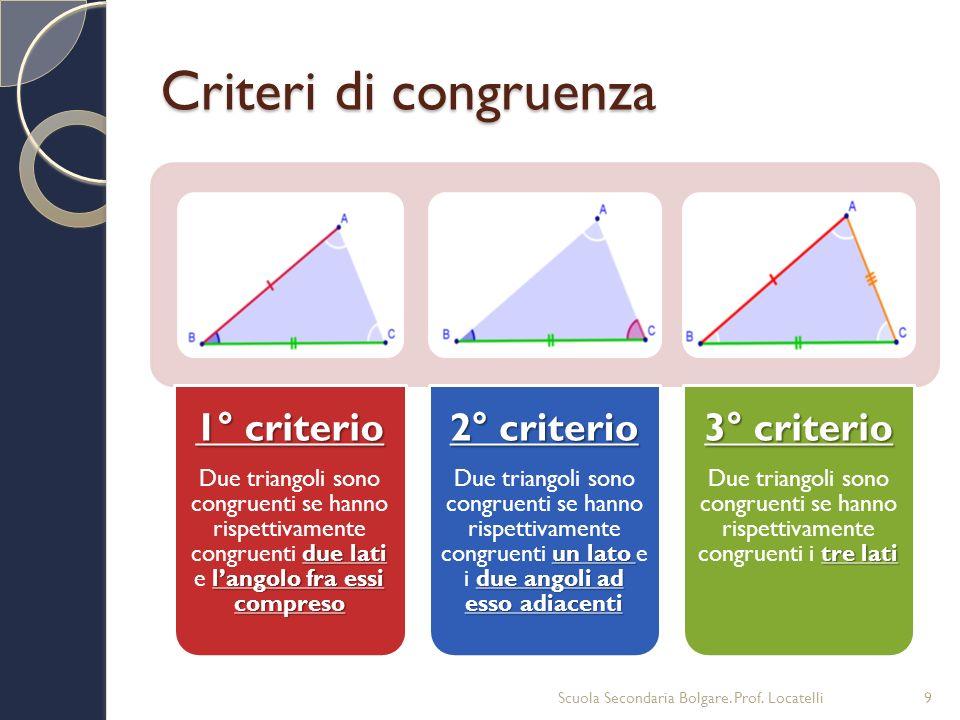 Criteri di congruenza 1° criterio due lati langolo fra essi compreso Due triangoli sono congruenti se hanno rispettivamente congruenti due lati e lang