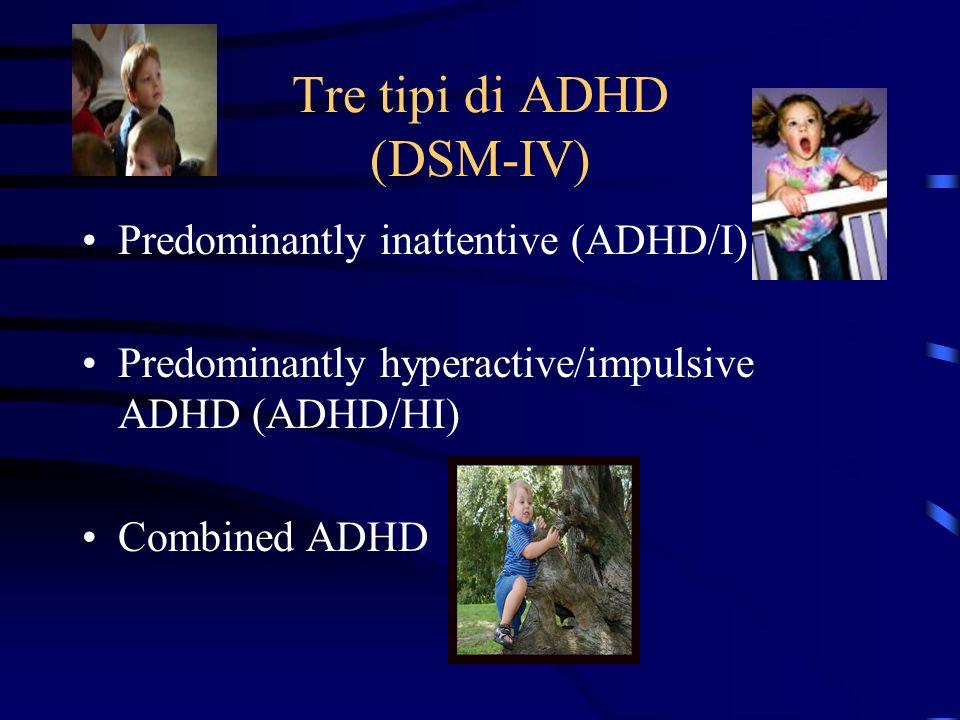 Tre tipi di ADHD (DSM-IV) Predominantly inattentive (ADHD/I) Predominantly hyperactive/impulsive ADHD (ADHD/HI) Combined ADHD