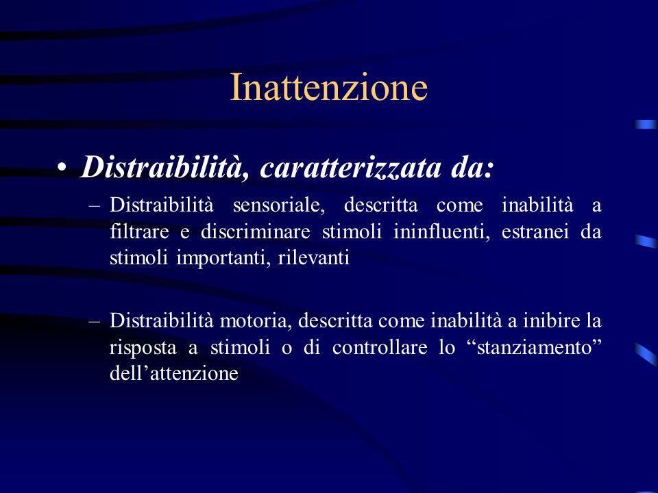 Inattenzione Distraibilità, caratterizzata da: –Distraibilità sensoriale, descritta come inabilità a filtrare e discriminare stimoli ininfluenti, estr