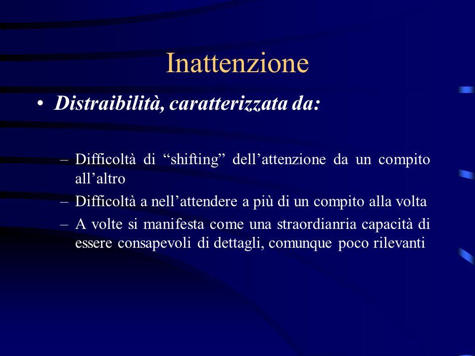 Inattenzione Distraibilità, caratterizzata da: –Difficoltà di shifting dellattenzione da un compito allaltro –Difficoltà a nellattendere a più di un c