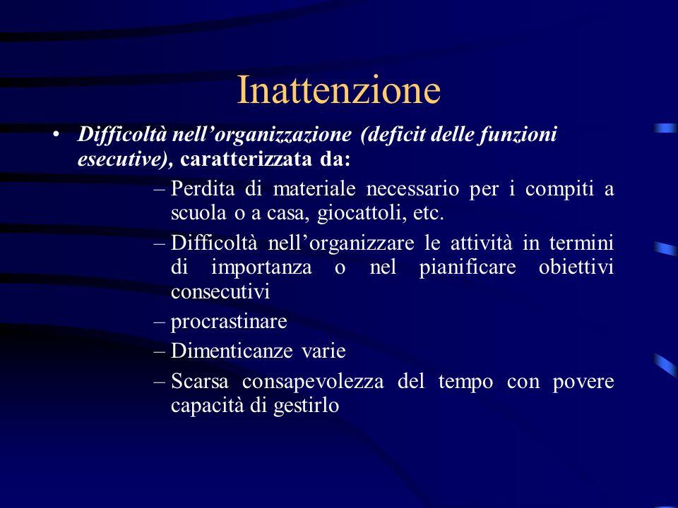 Inattenzione Difficoltà nellorganizzazione (deficit delle funzioni esecutive), caratterizzata da: –Perdita di materiale necessario per i compiti a scu
