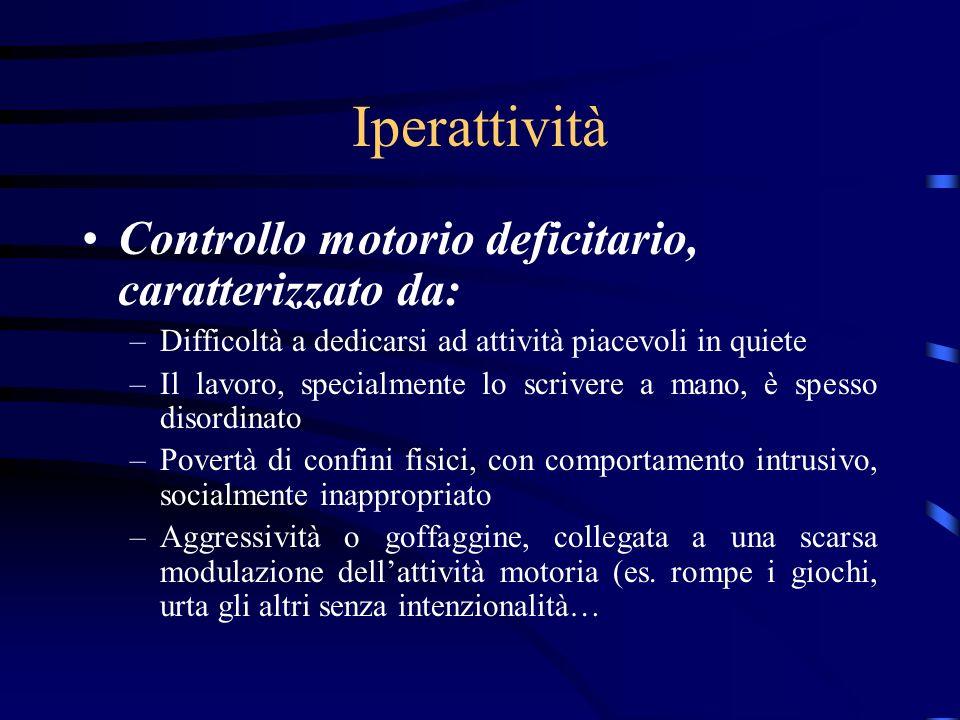 Iperattività Controllo motorio deficitario, caratterizzato da: –Difficoltà a dedicarsi ad attività piacevoli in quiete –Il lavoro, specialmente lo scr