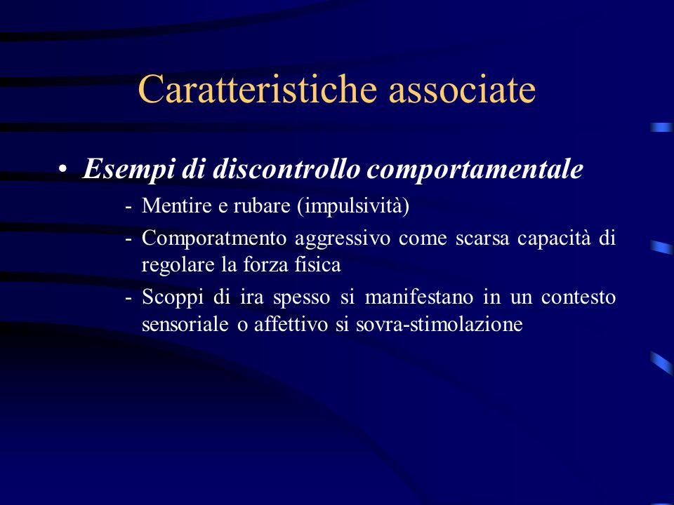 Caratteristiche associate Esempi di discontrollo comportamentale -Mentire e rubare (impulsività) -Comporatmento aggressivo come scarsa capacità di reg