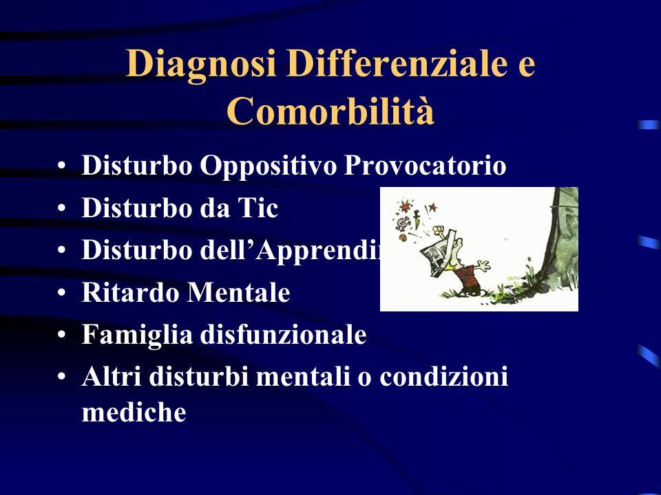 Diagnosi Differenziale e Comorbilità Disturbo Oppositivo Provocatorio Disturbo da Tic Disturbo dellApprendimento Ritardo Mentale Famiglia disfunzional