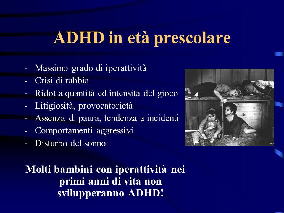 ADHD in età prescolare -Massimo grado di iperattività -Crisi di rabbia -Ridotta quantità ed intensità del gioco -Litigiosità, provocatorietà -Assenza