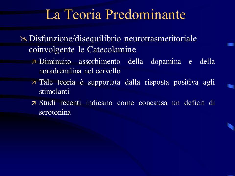 La Teoria Predominante @Disfunzione/disequilibrio neurotrasmetitoriale coinvolgente le Catecolamine ä Diminuito assorbimento della dopamina e della no