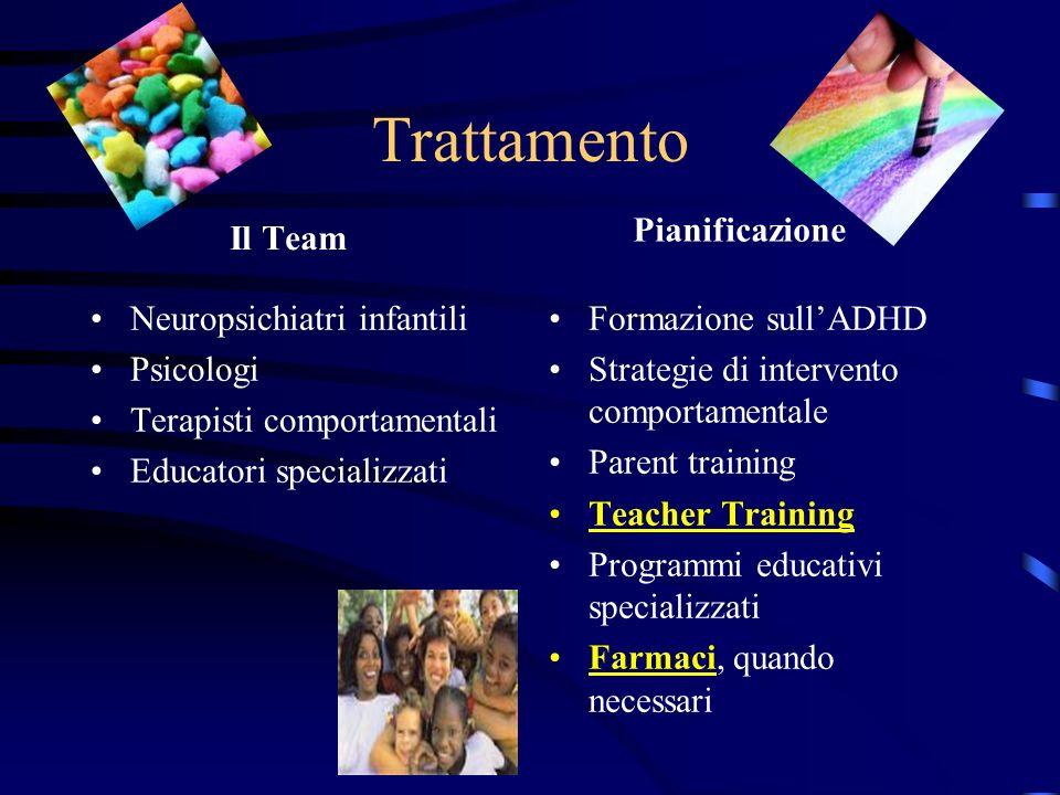 Trattamento Il Team Neuropsichiatri infantili Psicologi Terapisti comportamentali Educatori specializzati Pianificazione Formazione sullADHD Strategie