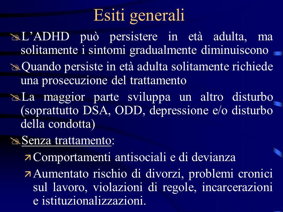 Esiti generali @LADHD può persistere in età adulta, ma solitamente i sintomi gradualmente diminuiscono @Quando persiste in età adulta solitamente rich