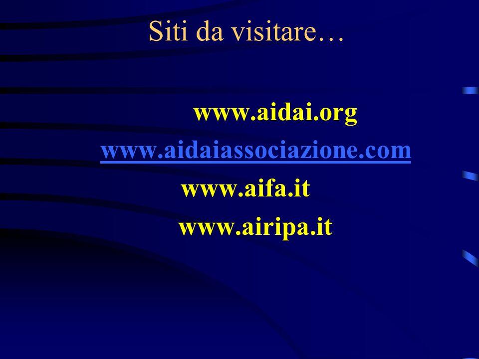 Siti da visitare… www.aidai.org www.aidaiassociazione.com www.aifa.it www.airipa.it