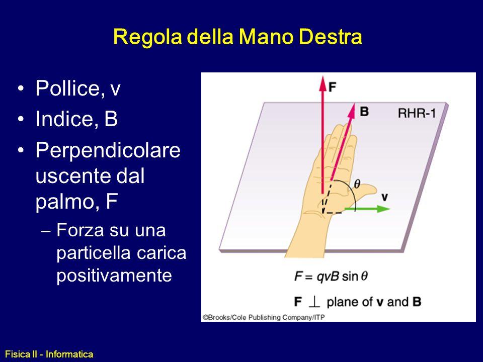 Fisica II - Informatica Forza di Lorentz La forza F su una carica q che si muove con velocità v in una regione dello spazio in presenza di un campo el