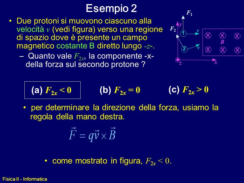 Fisica II - Informatica Esempio 1 Due protoni si muovono ciascuno alla velocità v (vedi figura) verso una regione di spazio dove è presente un campo m