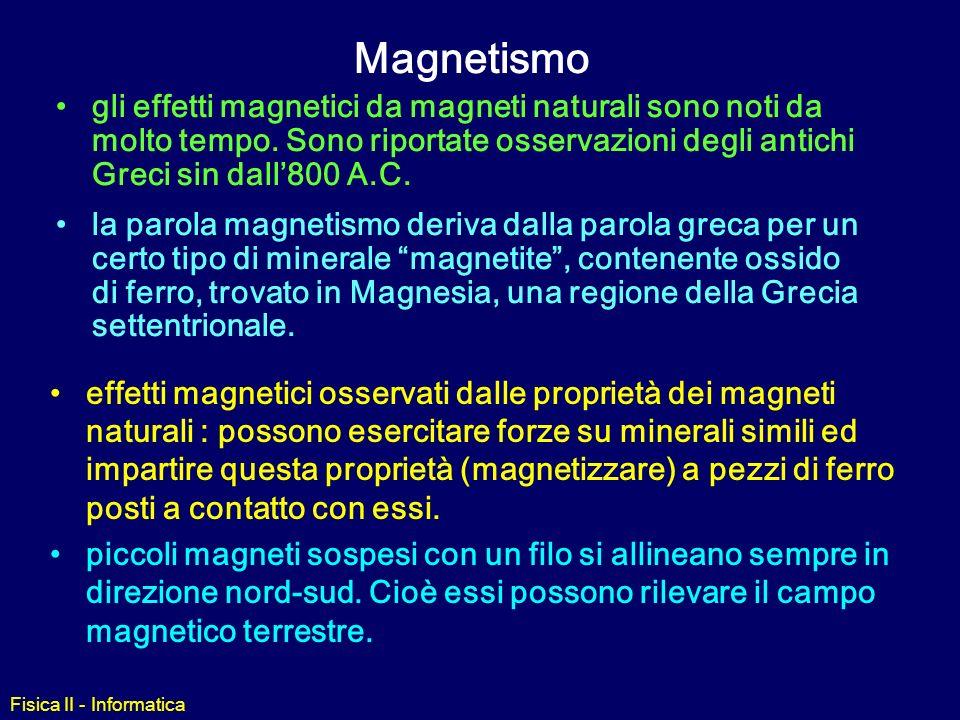 Fisica II - Informatica Magnetismo effetti magnetici osservati dalle proprietà dei magneti naturali : possono esercitare forze su minerali simili ed impartire questa proprietà (magnetizzare) a pezzi di ferro posti a contatto con essi.