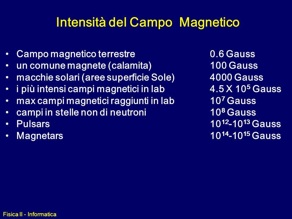 Fisica II - Informatica Campo magnetico terrestre Per convenzione, il polo Nord di un magnete è quello che punta verso il Polo Nord Geografico della T