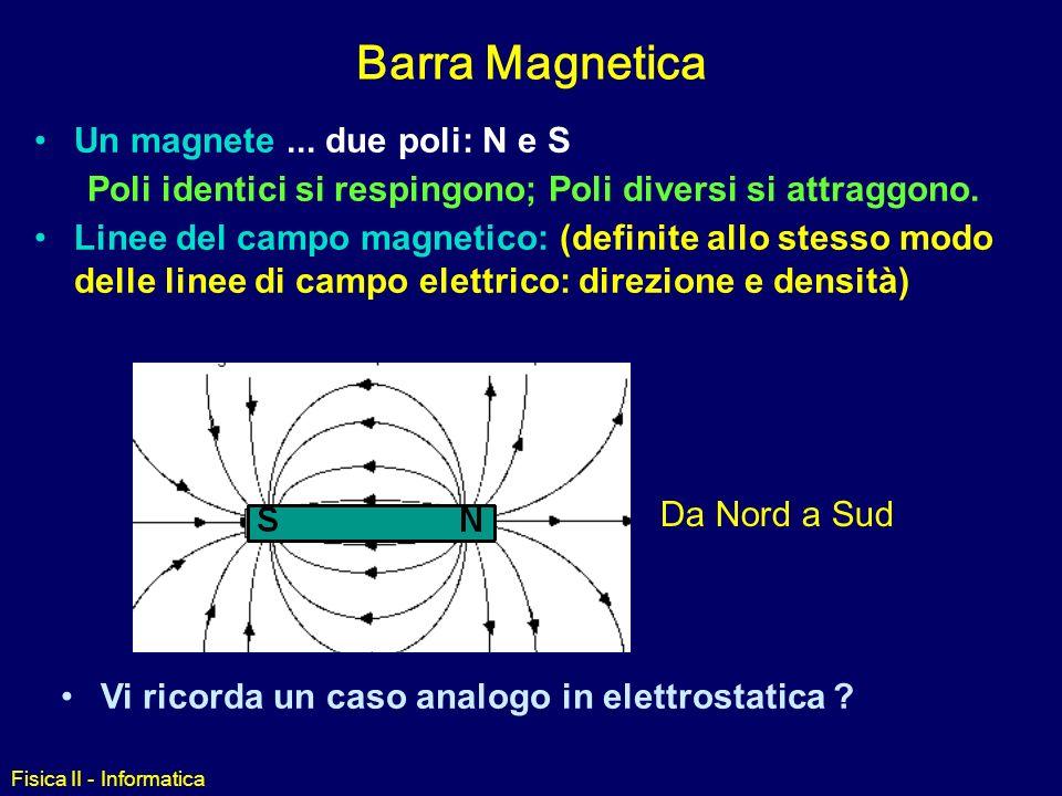 Fisica II - Informatica Barra Magnetica Un magnete...