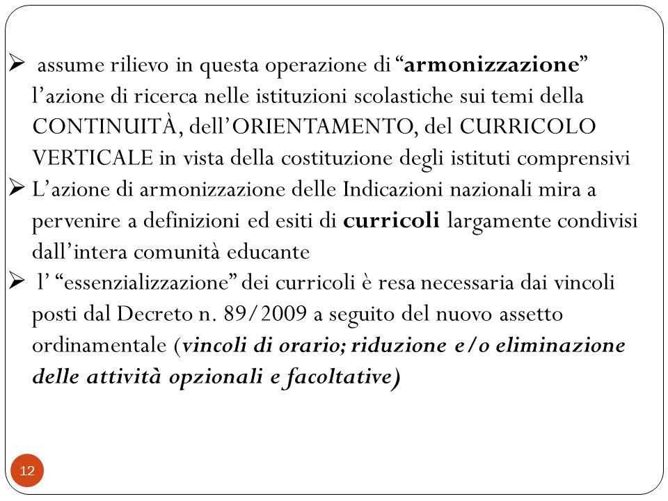 12 assume rilievo in questa operazione di armonizzazione lazione di ricerca nelle istituzioni scolastiche sui temi della CONTINUITÀ, dellORIENTAMENTO,