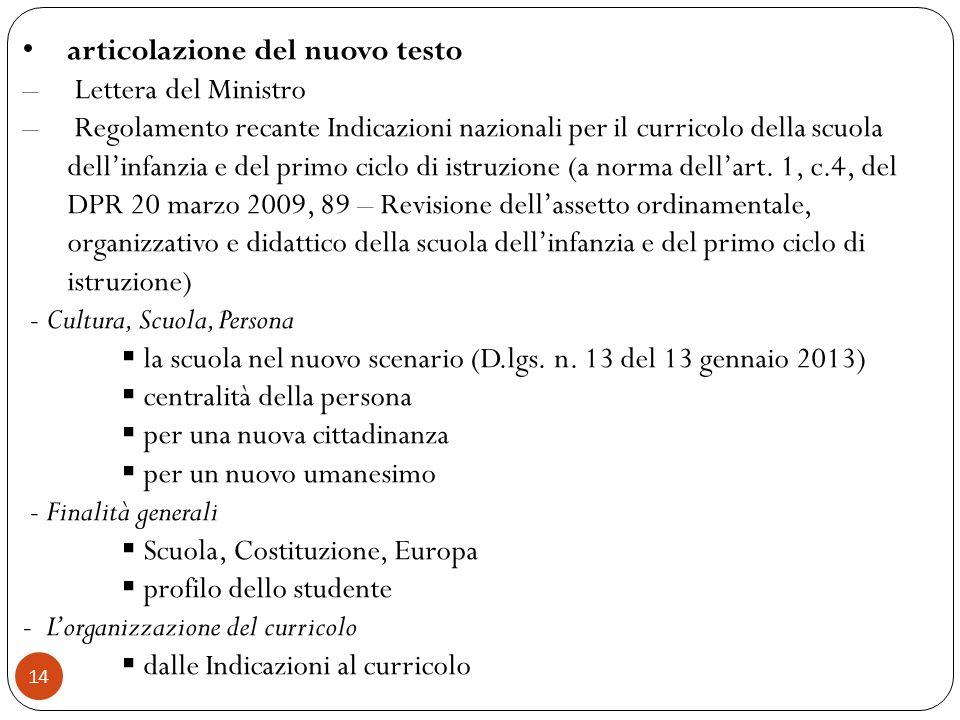 14 articolazione del nuovo testo – Lettera del Ministro – Regolamento recante Indicazioni nazionali per il curricolo della scuola dellinfanzia e del p