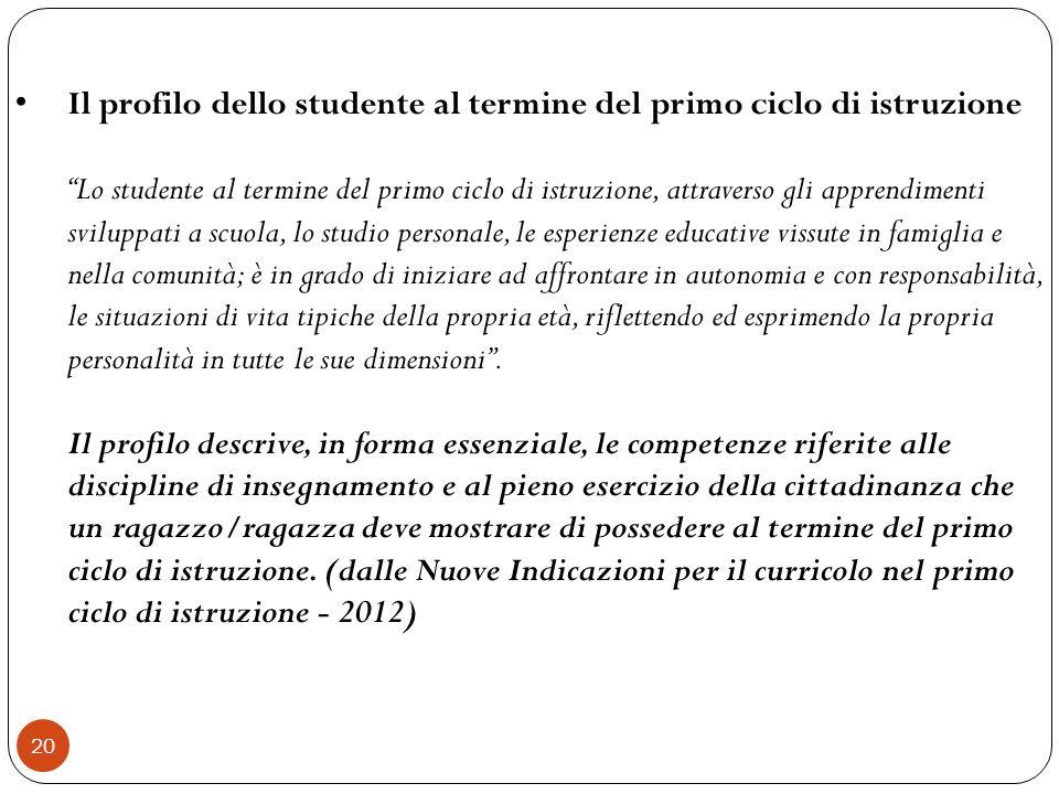 20 Il profilo dello studente al termine del primo ciclo di istruzione Lo studente al termine del primo ciclo di istruzione, attraverso gli apprendimen