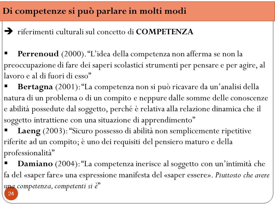 24 Di competenze si può parlare in molti modi riferimenti culturali sul concetto di COMPETENZA Perrenoud (2000). Lidea della competenza non afferma se