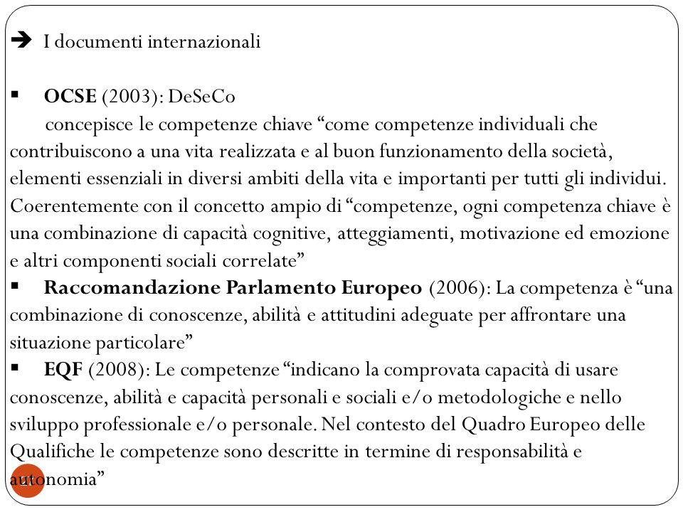 27 I documenti internazionali OCSE (2003): DeSeCo concepisce le competenze chiave come competenze individuali che contribuiscono a una vita realizzata