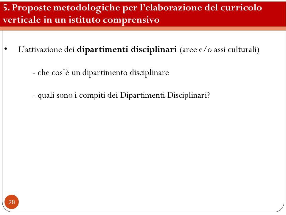 28 5. Proposte metodologiche per lelaborazione del curricolo verticale in un istituto comprensivo Lattivazione dei dipartimenti disciplinari (aree e/o