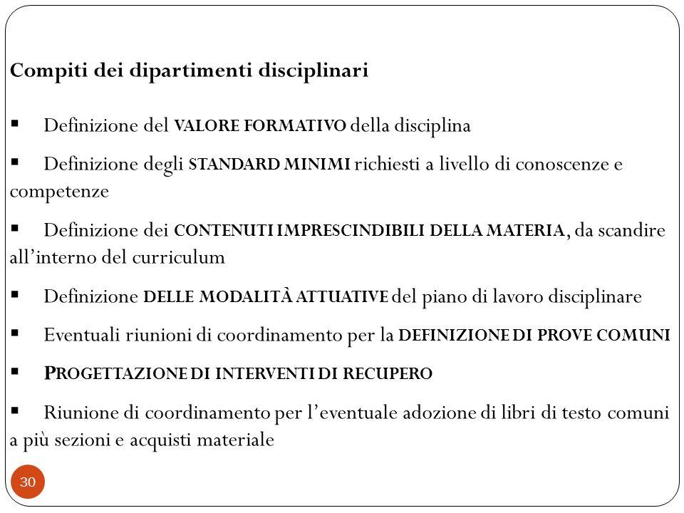 30 Compiti dei dipartimenti disciplinari Definizione del VALORE FORMATIVO della disciplina Definizione degli STANDARD MINIMI richiesti a livello di co
