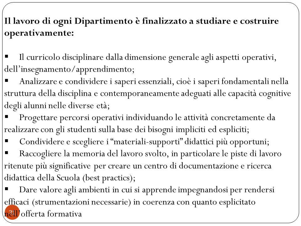 31 Il lavoro di ogni Dipartimento è finalizzato a studiare e costruire operativamente: Il curricolo disciplinare dalla dimensione generale agli aspett