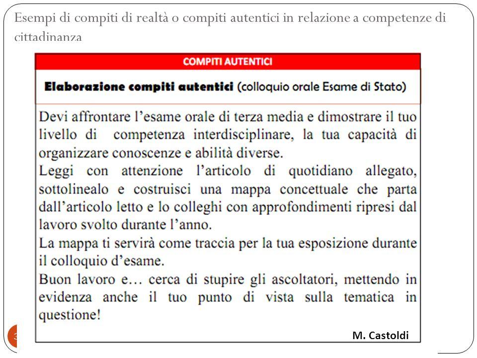 38 Esempi di compiti di realtà o compiti autentici in relazione a competenze di cittadinanza M. Castoldi