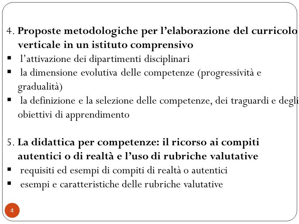 4 4. Proposte metodologiche per lelaborazione del curricolo verticale in un istituto comprensivo lattivazione dei dipartimenti disciplinari la dimensi