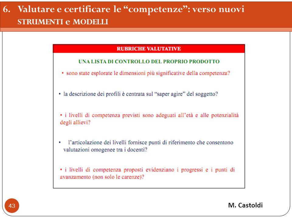 43 M. Castoldi 6.Valutare e certificare le competenze: verso nuovi STRUMENTI e MODELLI