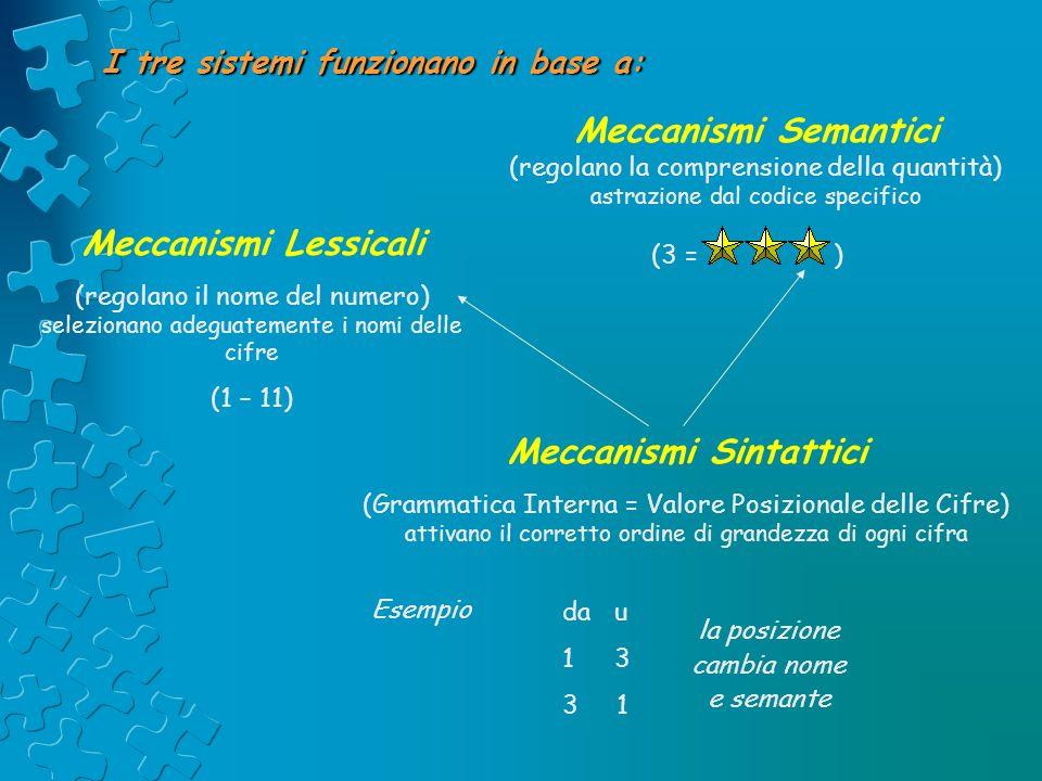 I tre sistemi funzionano in base a: Meccanismi Semantici (regolano la comprensione della quantità) astrazione dal codice specifico (3 = ) Meccanismi L
