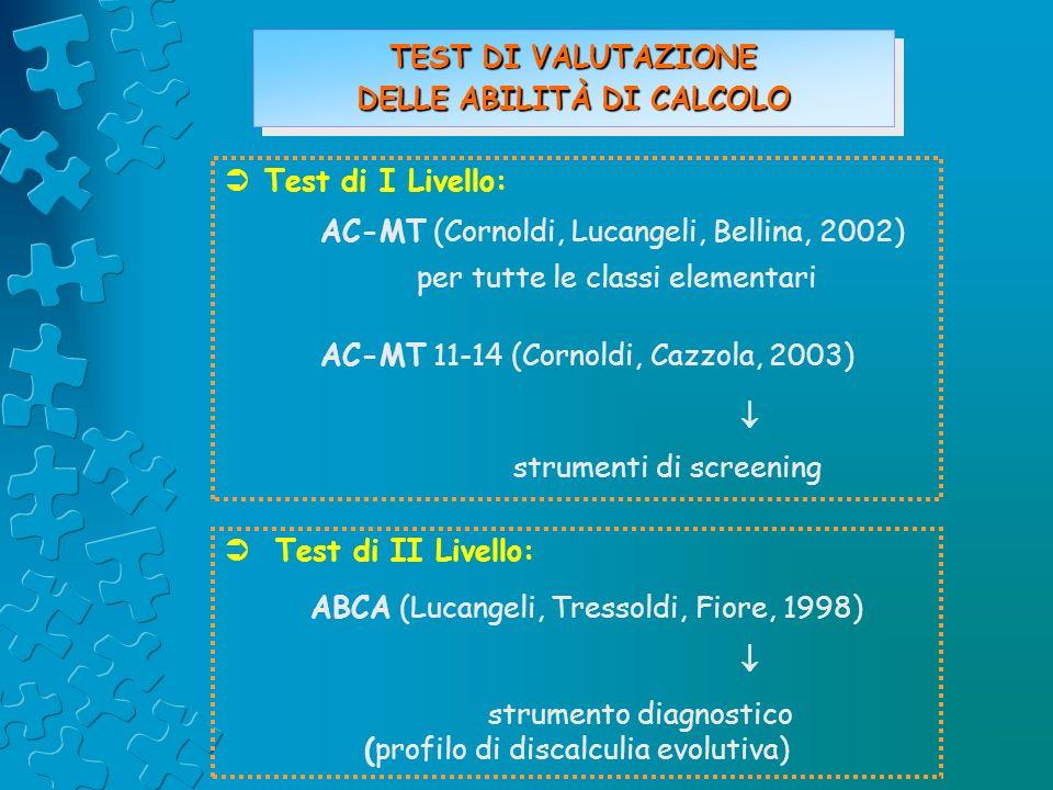 Test di I Livello: AC-MT (Cornoldi, Lucangeli, Bellina, 2002) per tutte le classi elementari AC-MT 11-14 (Cornoldi, Cazzola, 2003) strumenti di screen