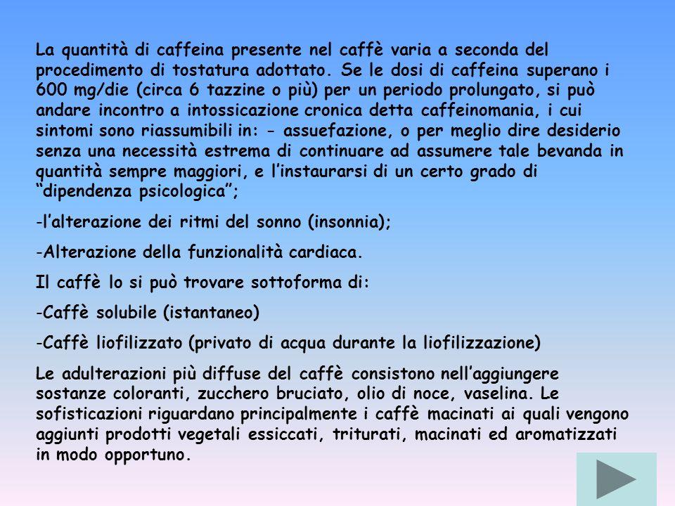 La quantità di caffeina presente nel caffè varia a seconda del procedimento di tostatura adottato. Se le dosi di caffeina superano i 600 mg/die (circa