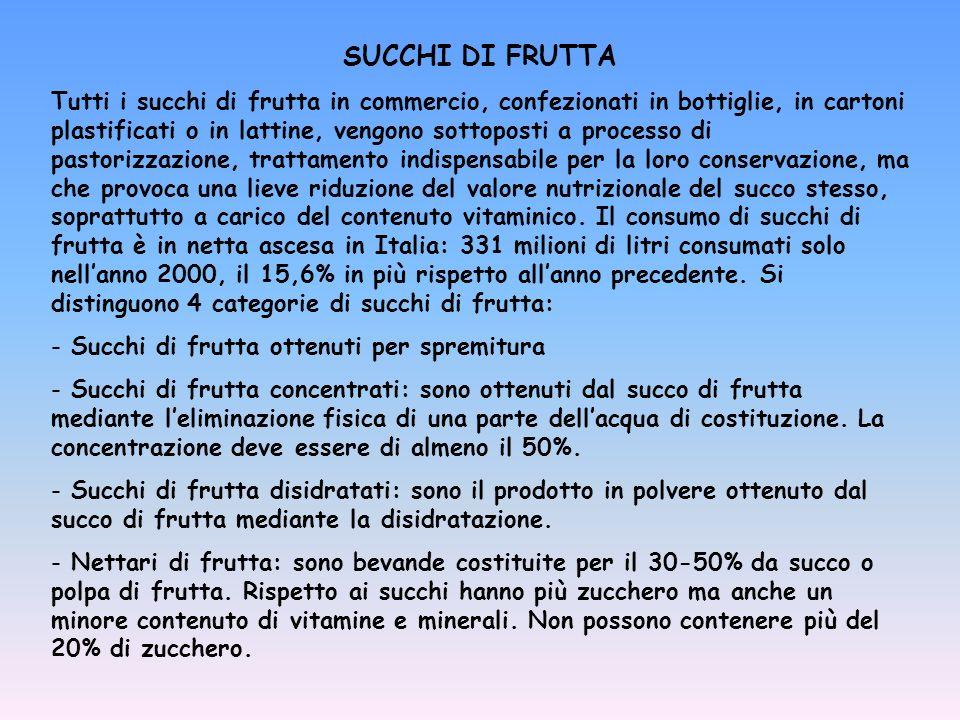 SUCCHI DI FRUTTA Tutti i succhi di frutta in commercio, confezionati in bottiglie, in cartoni plastificati o in lattine, vengono sottoposti a processo