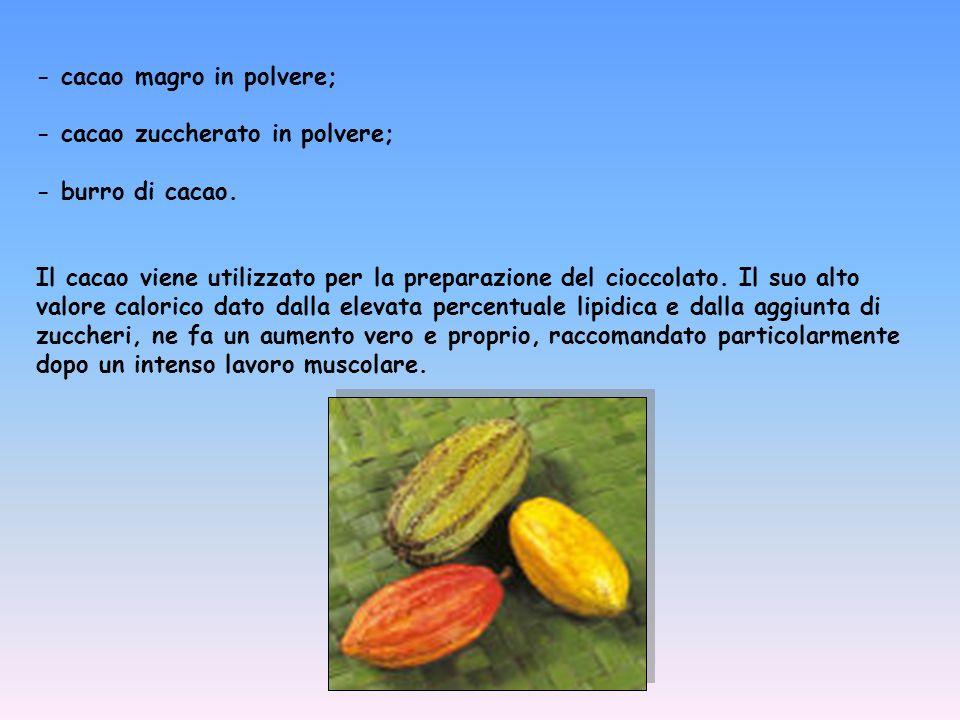 - cacao magro in polvere; - cacao zuccherato in polvere; - burro di cacao. Il cacao viene utilizzato per la preparazione del cioccolato. Il suo alto v