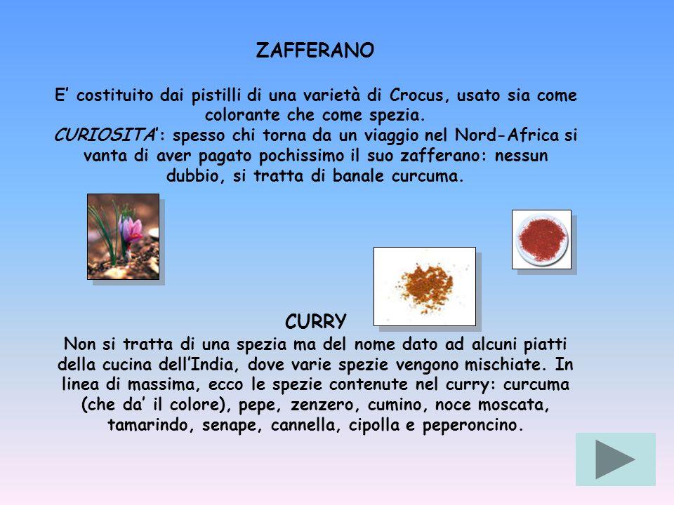 ZAFFERANO E costituito dai pistilli di una varietà di Crocus, usato sia come colorante che come spezia. CURIOSITA: spesso chi torna da un viaggio nel