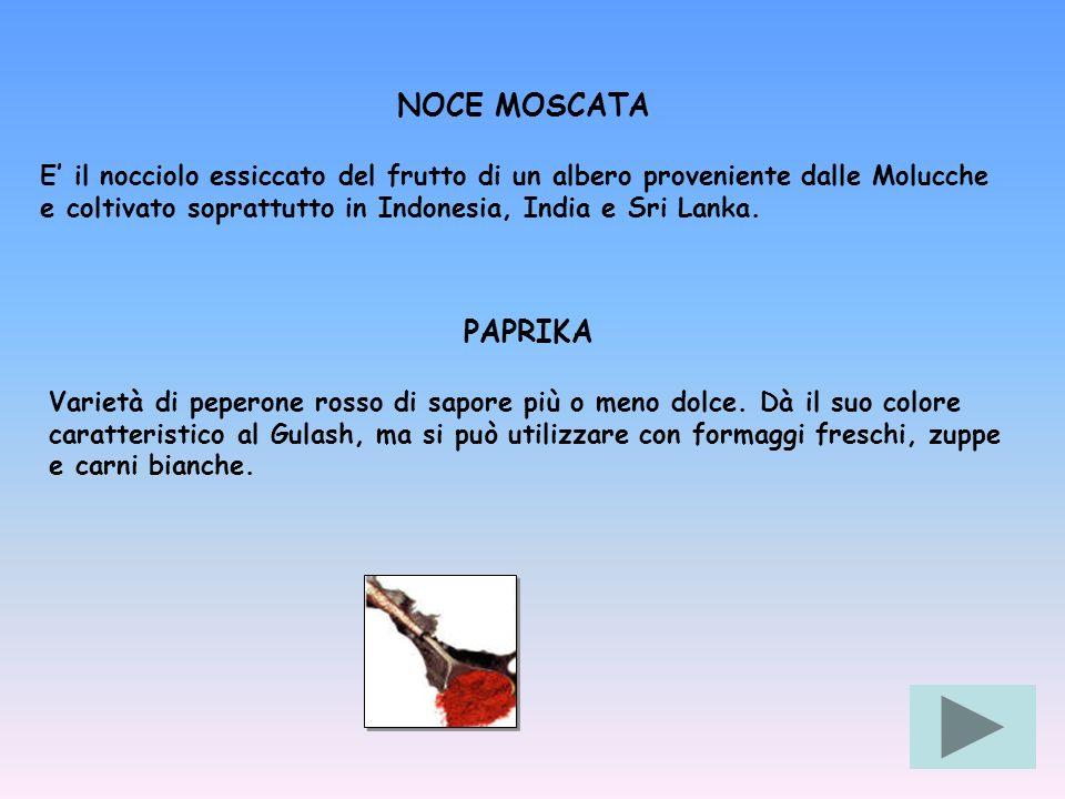 NOCE MOSCATA E il nocciolo essiccato del frutto di un albero proveniente dalle Molucche e coltivato soprattutto in Indonesia, India e Sri Lanka. PAPRI