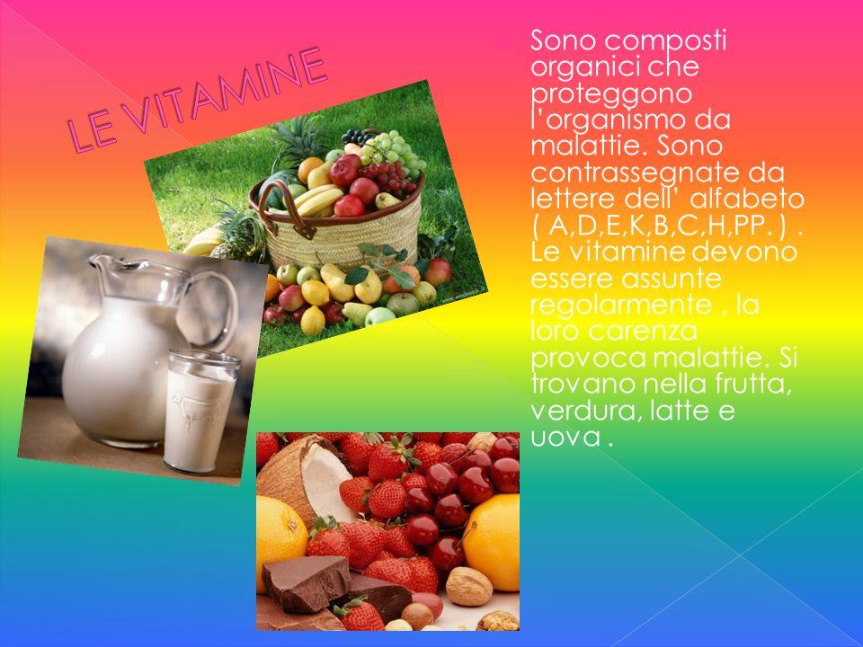 Sono composti organici che proteggono lorganismo da malattie. Sono contrassegnate da lettere dell alfabeto ( A,D,E,K,B,C,H,PP. ). Le vitamine devono e
