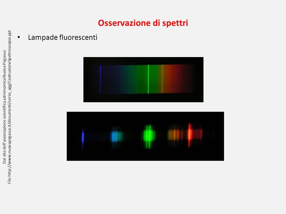Osservazione di spettri Lampade fluorescenti Dal sito dellassociazione scientifica astronomica Nuova Pegasus File http://www.nuovapegasus.it/documenti