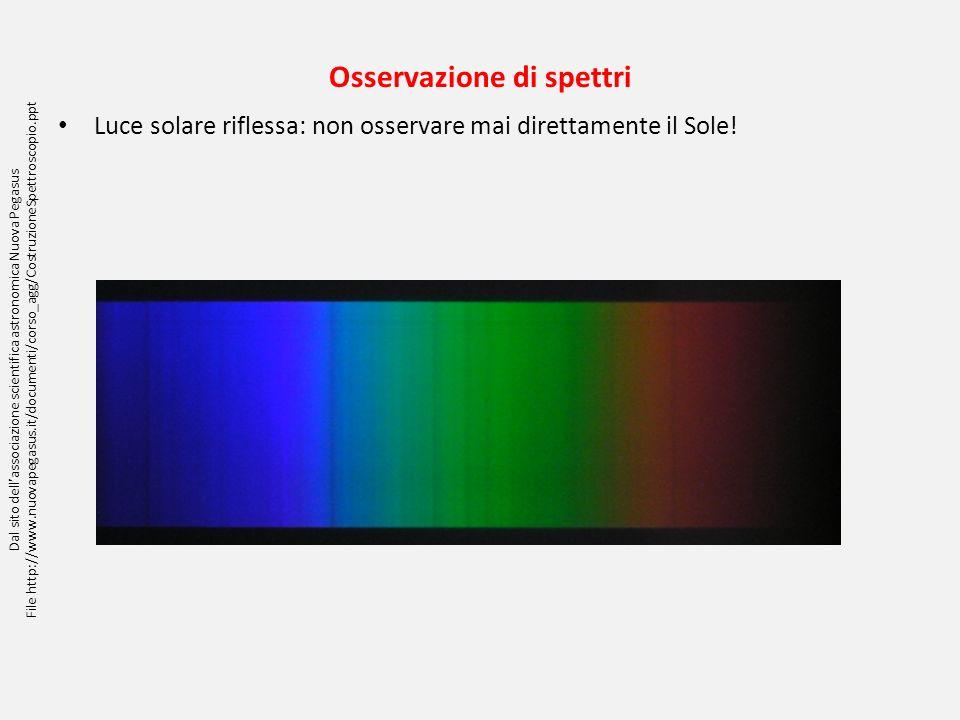 Osservazione di spettri Luce solare riflessa: non osservare mai direttamente il Sole! Dal sito dellassociazione scientifica astronomica Nuova Pegasus