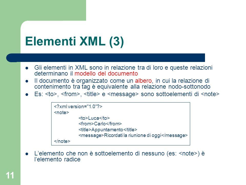 11 Elementi XML (3) Gli elementi in XML sono in relazione tra di loro e queste relazioni determinano il modello del documento Il documento è organizza
