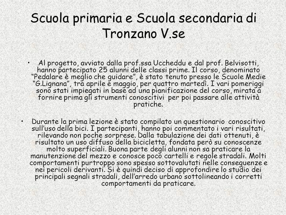 Scuola primaria e Scuola secondaria di Tronzano V.se Al progetto, avviato dalla prof.ssa Uccheddu e dal prof. Belvisotti, hanno partecipato 25 alunni